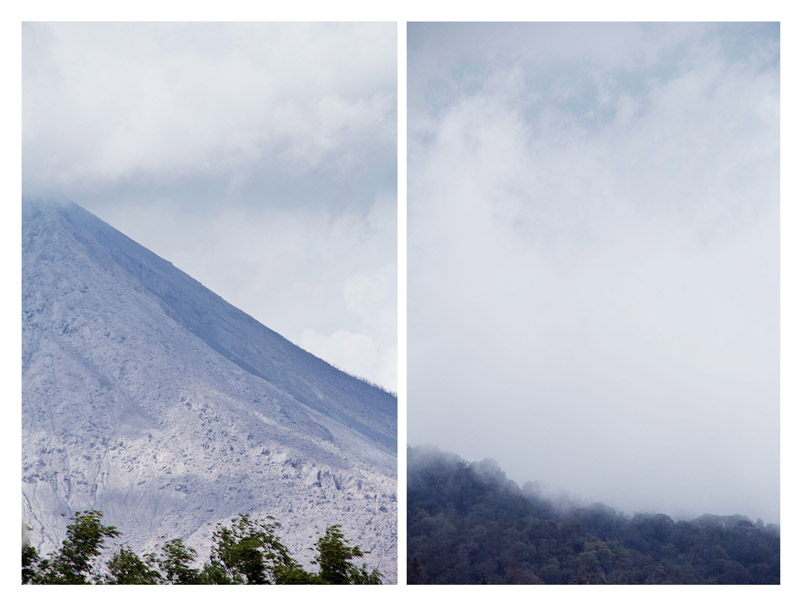 (left) Sinabung Mountain eruption. (right) Cloud and the hills in Tanah Karo, Indonesia.